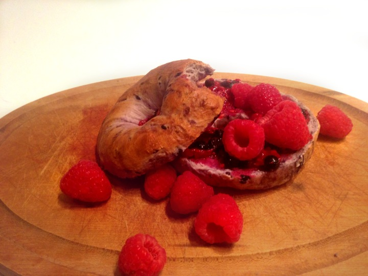 Raspberry Blueberry Bagels